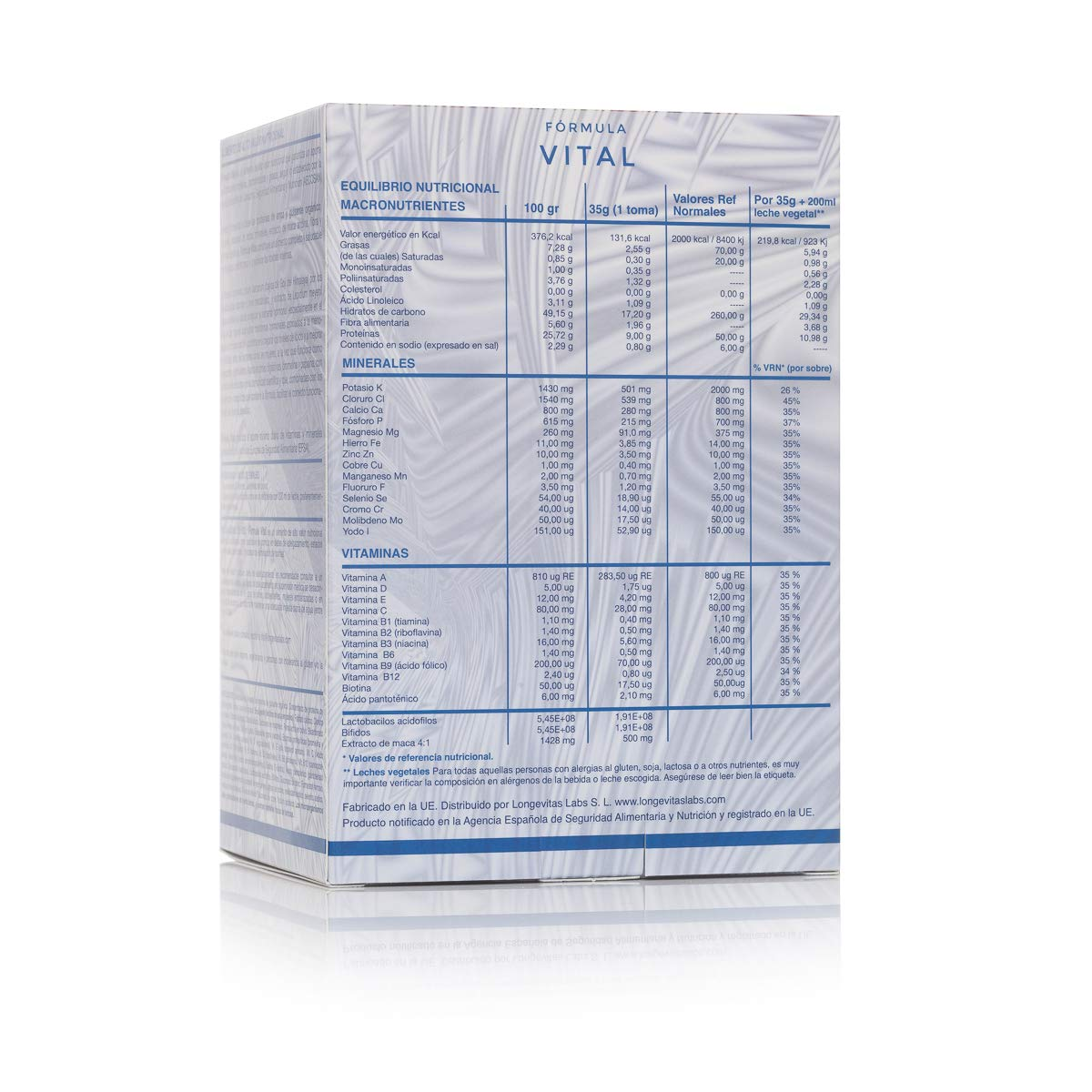 Fórmula Vital es el complemento nutricional de Longevitas Labs, a base de proteínas vegetales, prebióticos y extracto de maca, te ayuda a perder ...