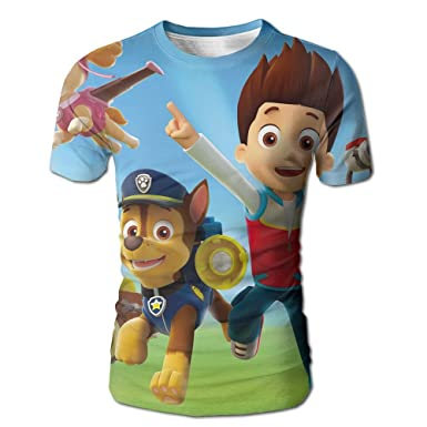 Discco Fashion 3D Printed Mens Paw Patrol Chase Wallpaper Short Sleeve White Size