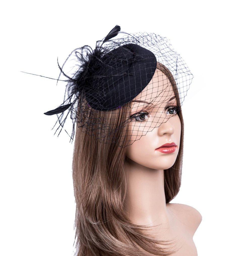 Fascinators Hats 20s 50s Hat Pillbox Hat Cocktail Tea Party Headwear with Veil for Girls and Women (B1-Black)