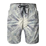 NTK0SKAI Men's Hand Drawn Stylized Leaves framework Floral Environment Theme Swimming Shorts Relaxed Beach Pants XX-Large