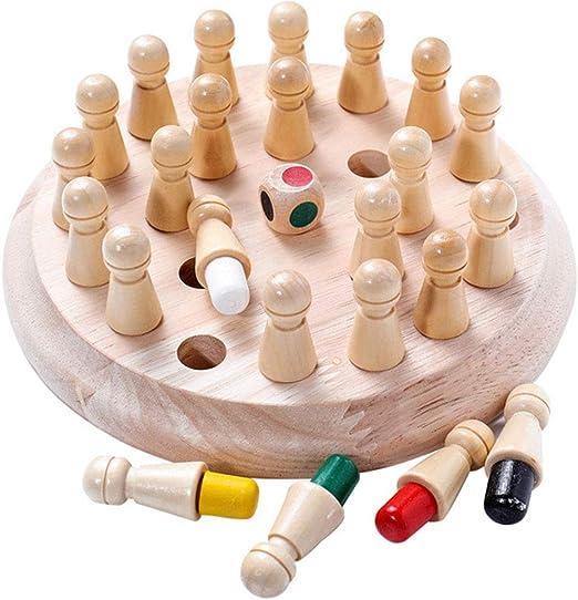 Oulensy 1Set Juguete Capacidad Fiesta de los niños Juego de Memoria de Madera Partida de ajedrez Palo Divertido Juego de Bloques Juego de Mesa Educativo Color cognitiva para niños: Amazon.es: Hogar