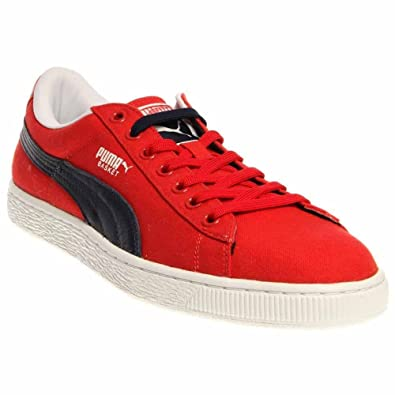 Amazon.com  Puma Basket Classic Canvas - High Risk Red   Peacoat ... 3ddb9137ad33