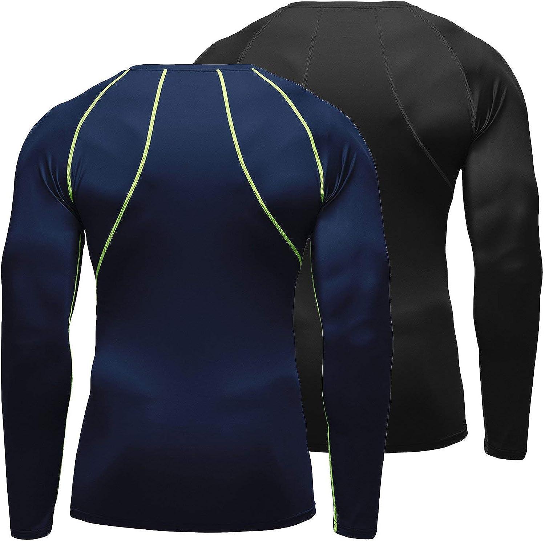 BALEAF Mens Cool Dry Skin Fit Long Sleeve Compression Shirt 2 Pack Black//Navy Size XL
