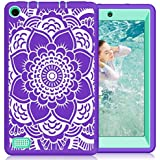 Hocase Fire 7 2017 Case Shockproof Anti-Scratch Hybrid Dual Layer Silicone Bumper Protective Case with Cute Mandala Flower for All-New Fire 7 Tablet (7th Generation, 2017 Release) - Purple / Teal