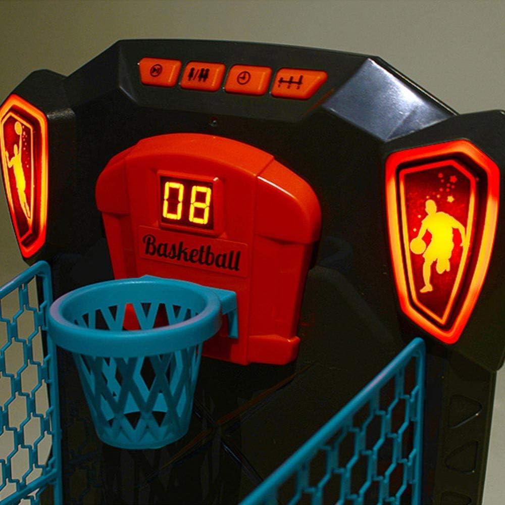 BAKAJI Gioco da Tavolo Basket Palla Canestro Elettronico Giocattolo Bambini con Luci e Suoni 3 Palline Selezione Livello di Gioco con Movimento Canestro Segna Punti Digitale 1 Giocatore Elettronico
