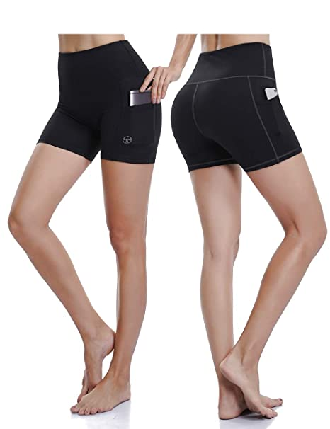 2e4f9447148a50 ALONG FIT Yoga Shorts for Women High Waisted Running Yoga Shorts with Side  Pockets