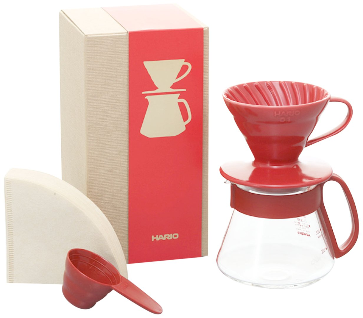 Hario V60 Coffee Dripper and Pot Set, Size 01, Red