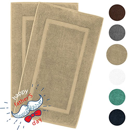 900 GSM Machine Washable 21×34 Inches 2-Pack Banded Bath Mats, Luxury Hotel and Spa Quality, 100% Ring Spun Genuine Cotton, Maximum Softness and Absorbency by United Home Textile, Sand Taupe