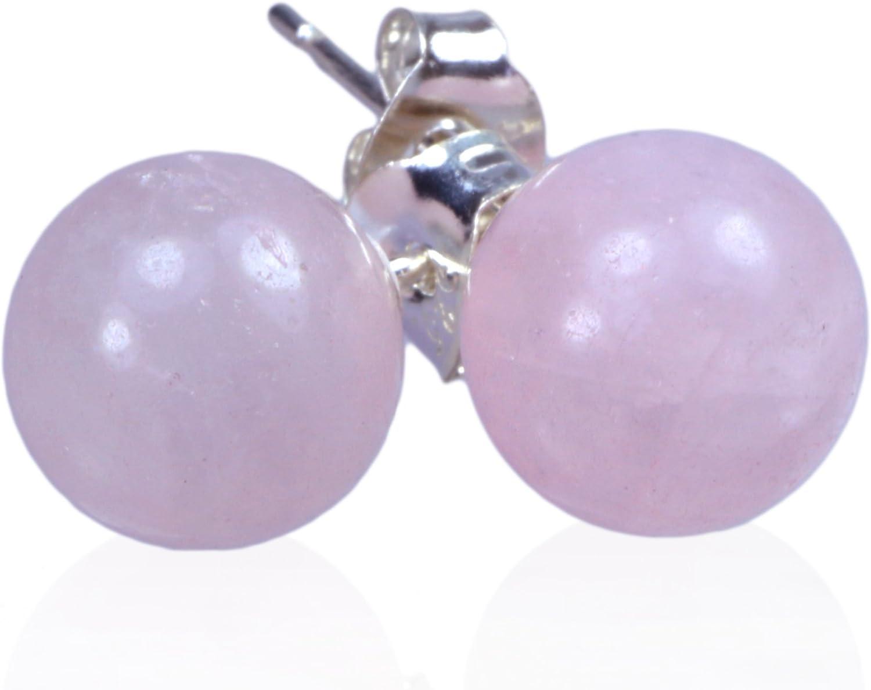 Cuarzo rosa pendientes 8mm Bolas en plata 925