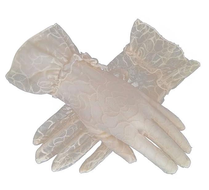 e23a48055846 Flywife Damen Braut Hochzeit Spitze Handschuhe Derby Tee Party Handschuhe  viktorianischen Gothic Kostüme Handschuhe (Beige