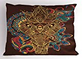 Ambesonne Elephant Pillow Sham by, Graphic Artwork Animal Frame Indian Mandala Ethnic Tribal Folkloric, Decorative Standard King Size Printed Pillowcase, 36 X 20 Inches, Multicolor