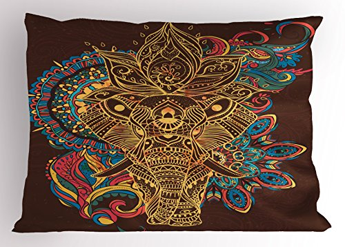 Ambesonne Elephant Pillow Sham by, Graphic Artwork Animal Frame Indian Mandala Ethnic Tribal Folkloric, Decorative Standard King Size Printed Pillowcase, 36 X 20 Inches, Multicolor by Ambesonne