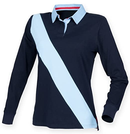 a7a08b9afb4 Front Row Women's Long Sleeve Diagonal Stripe Rugby Shirt: Amazon.co.uk:  Clothing