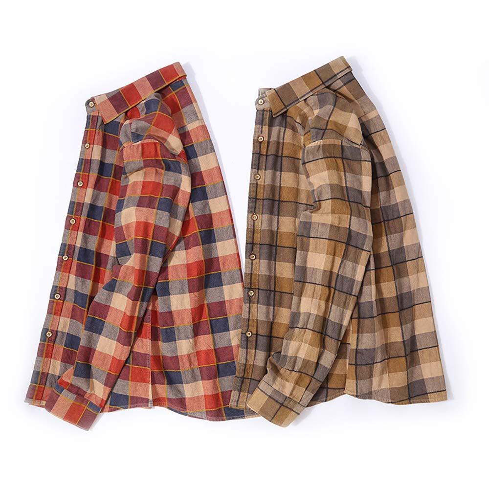 Mens Slim-Fit Long-Sleeve Plaid Cotton Shirt