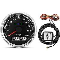 Nikou Velocímetro de GPS Digital - Camión para Motocicletas, Medidor de cuentakilómetros del velocímetro de GPS con retroiluminación 85 mm 200 km/h 12 V / 24 V