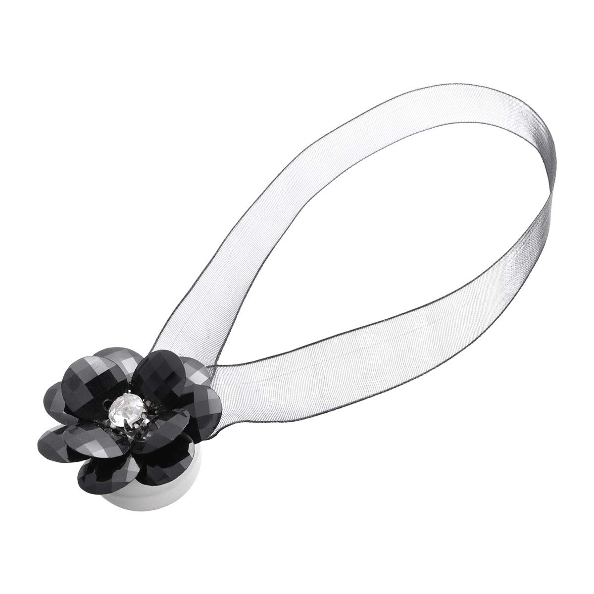 Vosarea Magnetic Curtains Buckle Clip Crystal Flower Tiebacks (Nero)