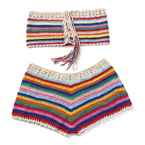 Women Crochet Bikini Set Knit 2PCS Bathing Suit Swimsuit Beachwear