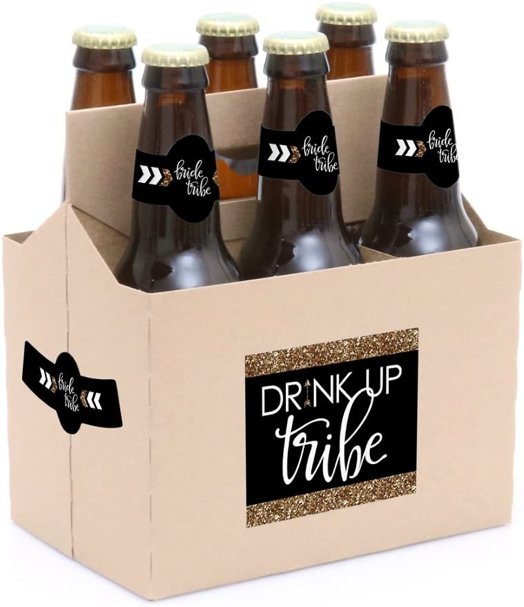 Bride Tribe 6 Beer Bottle Label Stickers and 1 Carrier Bridal Shower /& Bachelorette Party Decorations for Women
