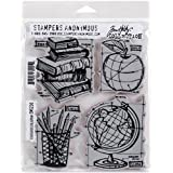"""Stampers Anonymous Tim Holtz Cling Rubber Schoolhouse Blueprint Stamp Set, 7 x 8.5"""""""