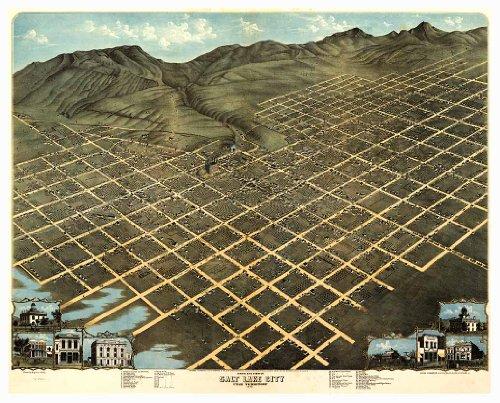 Birds Eye View MAP of SALT LAKE CITY Utah circa 1870 - measures 24