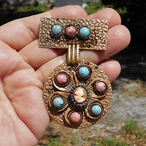 60+ Year Old Brass Hammered Brooch with Patina, 9 Pink & Blue Marbled Focals with Tiny Hand Carved Pleasingly Plump Victorian Lady Shell Cameo added. ONE OF A ()