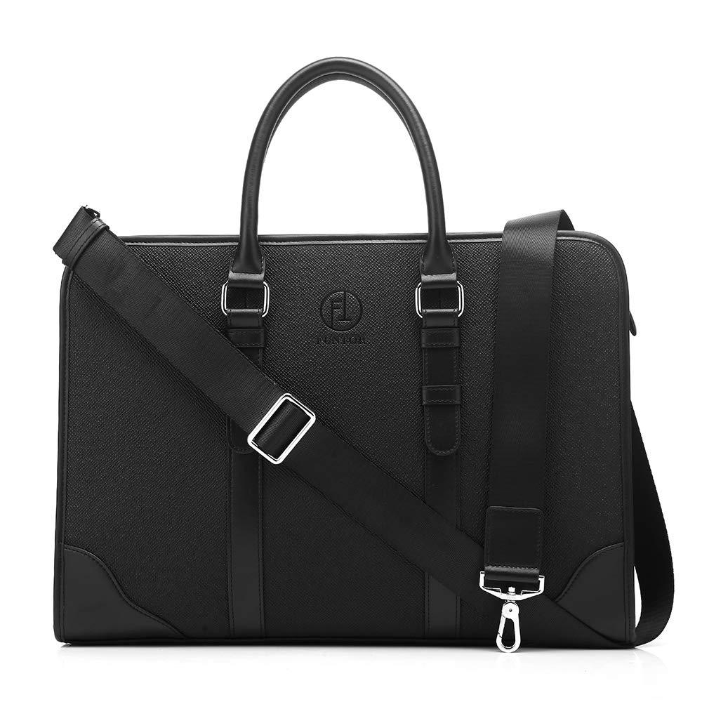 Black Vintage Vertical Shoulder Business Briefcase Cross Body Casual Satchel Handbag Men/'s Genuine Leather Purse for Everyday Use FT FUNTOR Small Leather Messenger Bag for Men