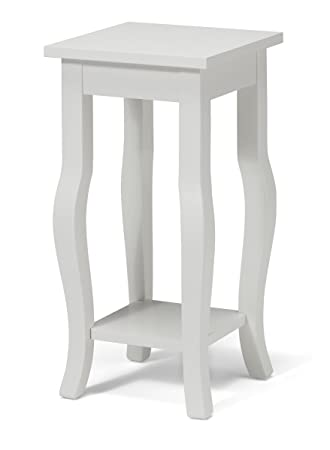 Kate And Laurel Lillian Wood Pedestal End Table Curved Legs With Shelf,  12u0026quot; X