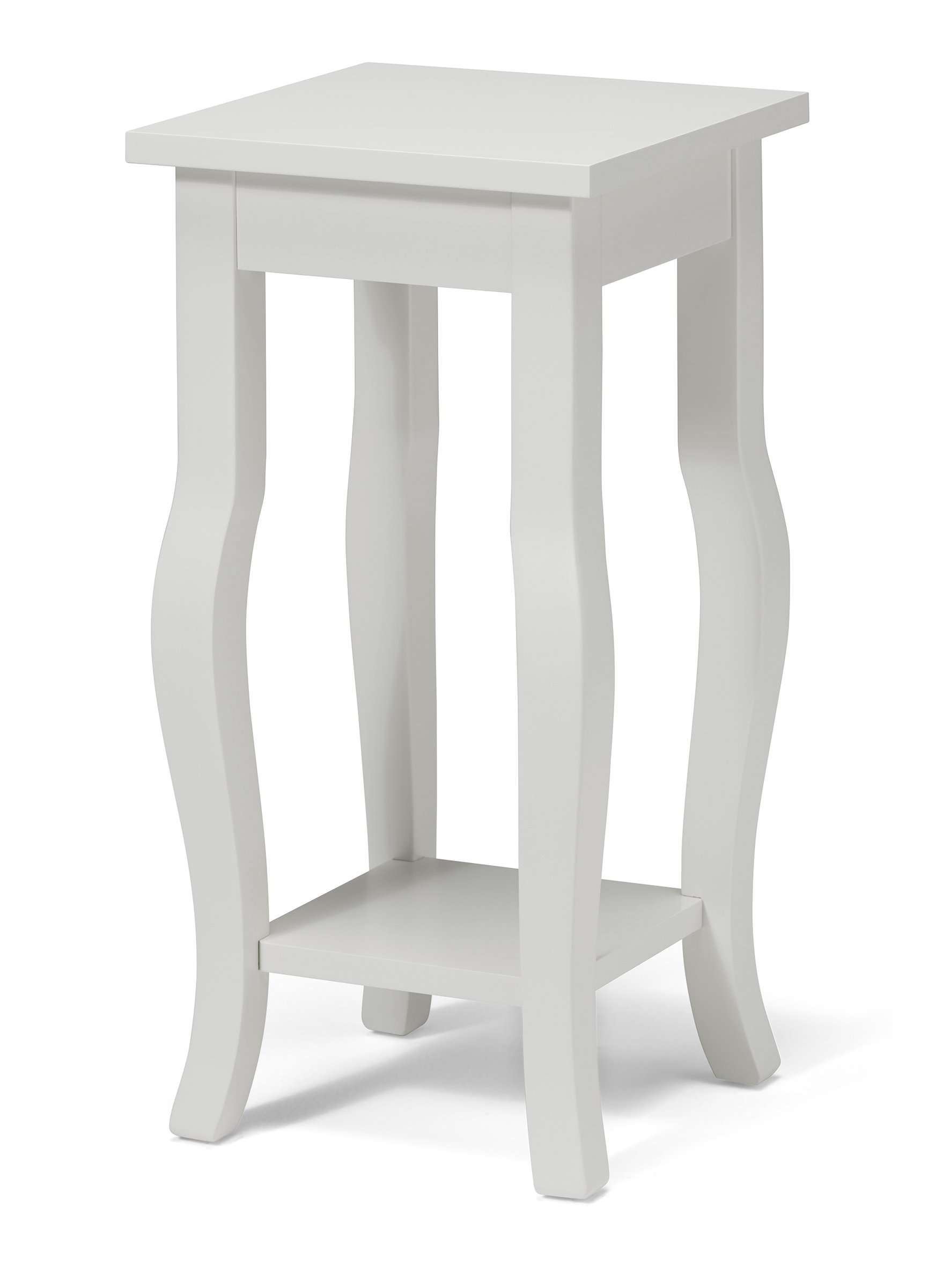 Kate and Laurel Lillian Wood Pedestal End Table Curved Legs with Shelf, 12'' x 12'' x 24'', True White