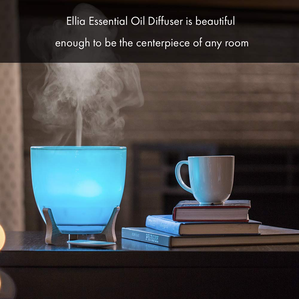 Ellia, Aspire Ultrasonic Essential Oil Aromatherapy Diffuser with 3 Oil Samples, 10 Hours Continuous Runtime, Remote, Mood Light & Sounds. 200mL Reservoir Size. Glass & Wood, Blue ARM-1210BL by Ellia (Image #8)