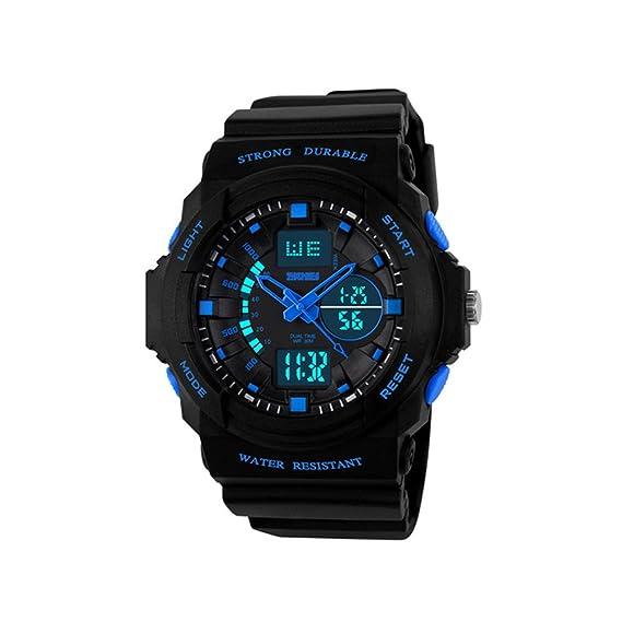 Digital Deportivos Relojes de Pulsera LED Outdoor Multifuncional Electrónica Plástico Goma Relojes Analógico Cuarzo Doble Tiempo