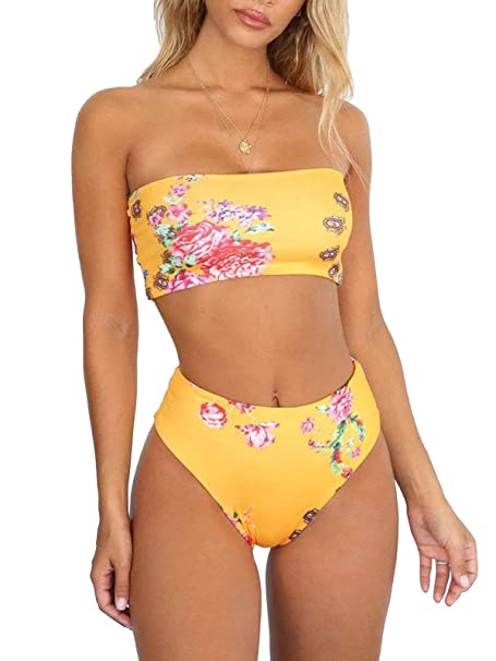 3c9103bad10 Amazon.com  Bezsoo Women s Bikini Sets Bandeau Top High Waisted Bottom  Swimsuit Bathing Suits Beach Swimwear(Yellow Flower