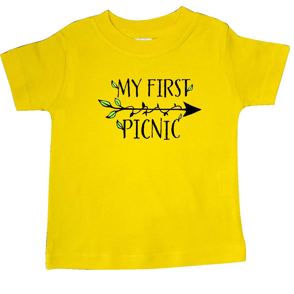 inktastic My First Picnic with Arrow and Leaves Baby T-Shirt