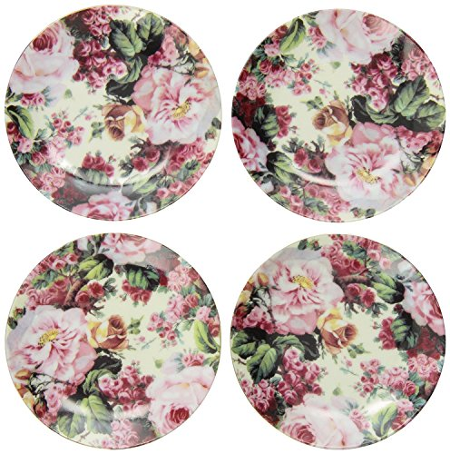 English Rose Pattern Fine China Cup Cake Plates for Children's Tea Parties (18' Doll Porcelain)