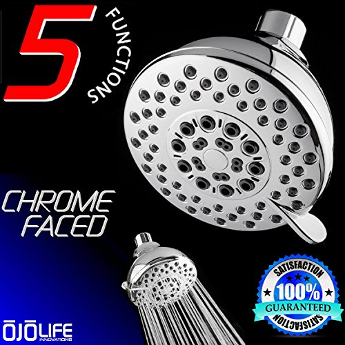 Chrome Self Cleaning Range - Shower Excellence by OjoLife Innovations - Super Luxury Hotel & Spa Quality 5 Setting Variable Spray Oversize Hands Free Wall Mount Shower Head - Chrome Finish & Self Cleaning Nozzles - Easy Install