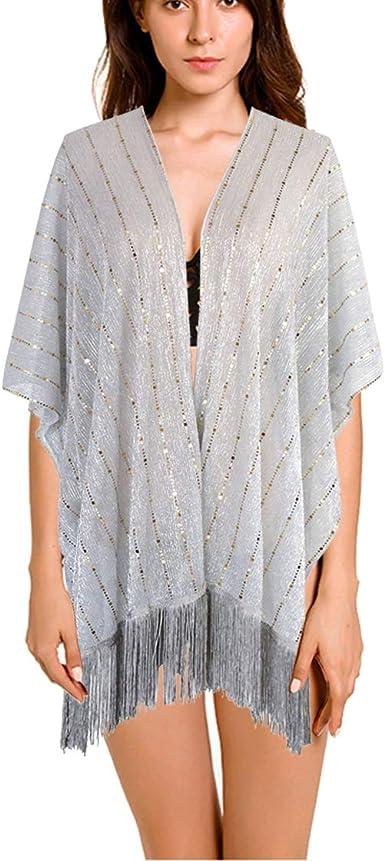 keland Lentejuelas de la camisa de la mujer chal bufanda partido fiesta encogiéndose camisa blusa (Plata y oro): Amazon.es: Ropa y accesorios