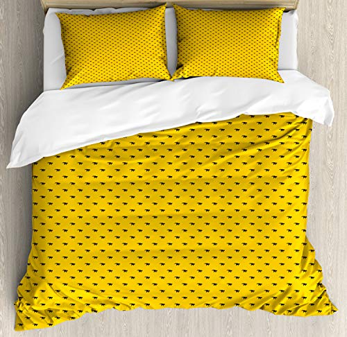 - Ambesonne Dino Duvet Cover Set King Size, Monochrome Archaic Mammal Ceratopsia Predator Rhythmic Pattern, Decorative 3 Piece Bedding Set with 2 Pillow Shams, Charcoal Grey and Earth Yellow