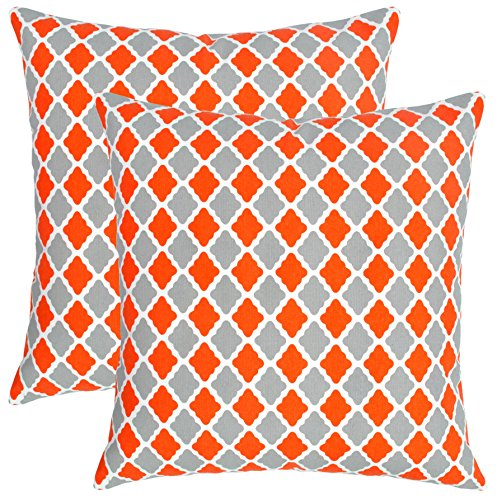 Isabella Beddings Morrocan Trellis Throw Pillow Case Cover 100% Cotton Cushion Covers Square Eco-Friendly Home Decor for Sofa Couch Bed Orange Grey 20x20 inch 50cm x 50cm Pack of 2 (Grey Orange And Cushions)