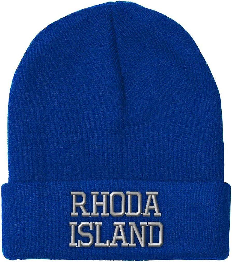 Custom Beanie for Men /& Women Rhode Island State USA America Embroidery Acrylic