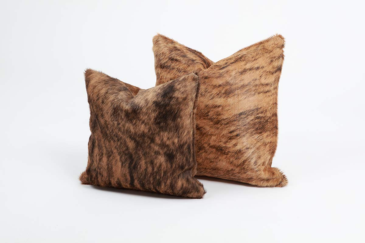 Brown Brindle Genuine Cowhide Pillow Cover - 16x16 Inches or 20x20 Inches (20x20) (20x20)