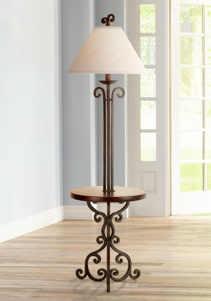 Iron Scroll Wooden Tray Floor Lamp - - Amazon.com