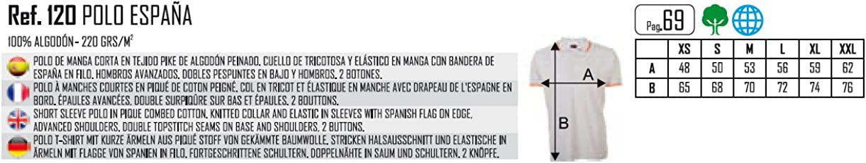 algod/ón 100/% Pierre de Lone Polo Hombre Bandera Espa/ña Azul Marino