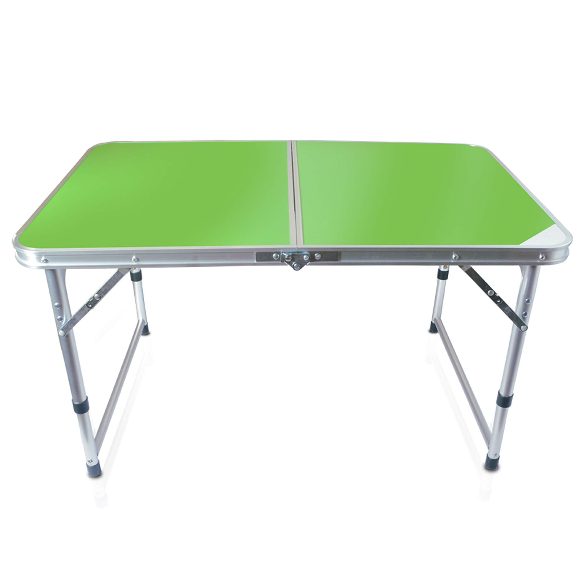 Folding Table, Outdoor Table Adjustable Height Camping Portable Folding Table Square, Picnic Table Camping Lightweight with Extended Legs, Green by Hengtong