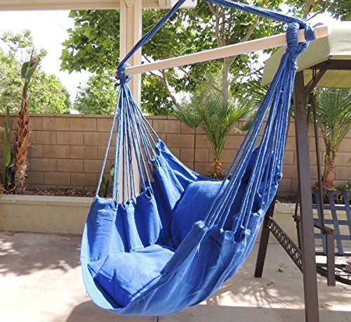 Hammock Chair Hanging Rope Chair Porch Swing Outdoor Chairs Lounge Camp Seat At Patio Lawn Garden Backyard Blue by Busen
