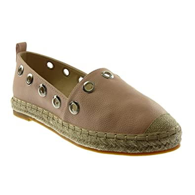 dafe24879 Angkorly - Women's Fashion Shoes Espadrilles - Slip-on - Perforated -  Grained - Cord
