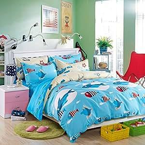 Lelva blue ocean cartoon bedding cute shark for Fish bedding twin