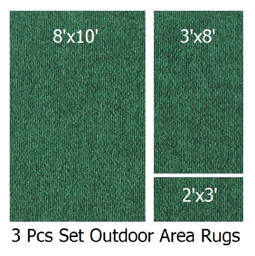 Indoor-Outdoor Green, 3 Piece Set, Patio Rug's (8x10 Area Rug, 3x8 Runner, 2x3 Mat) (8 Piece Patio Set Cheap)