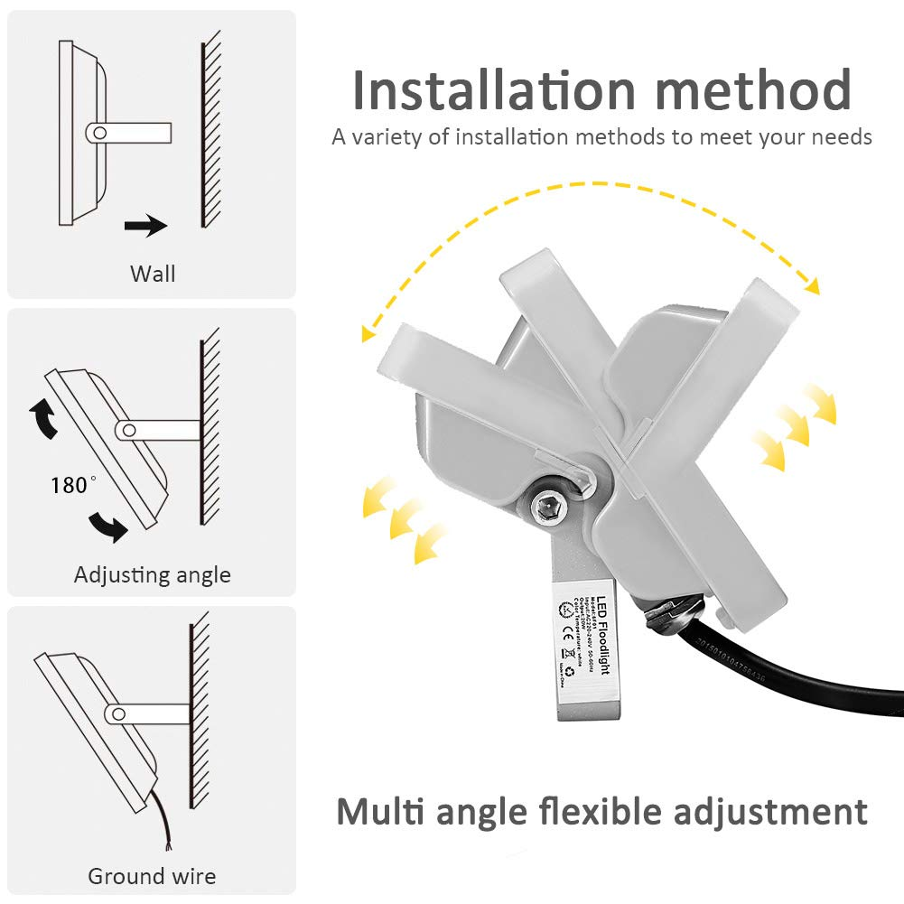 Laideyilan 20w Led Flood Light Outdoor Spotlight Ip65 1800lm 120 Floodlight Wiring Diagram 120beam Angle Landscape Security Waterproof Super Bright Work Cold