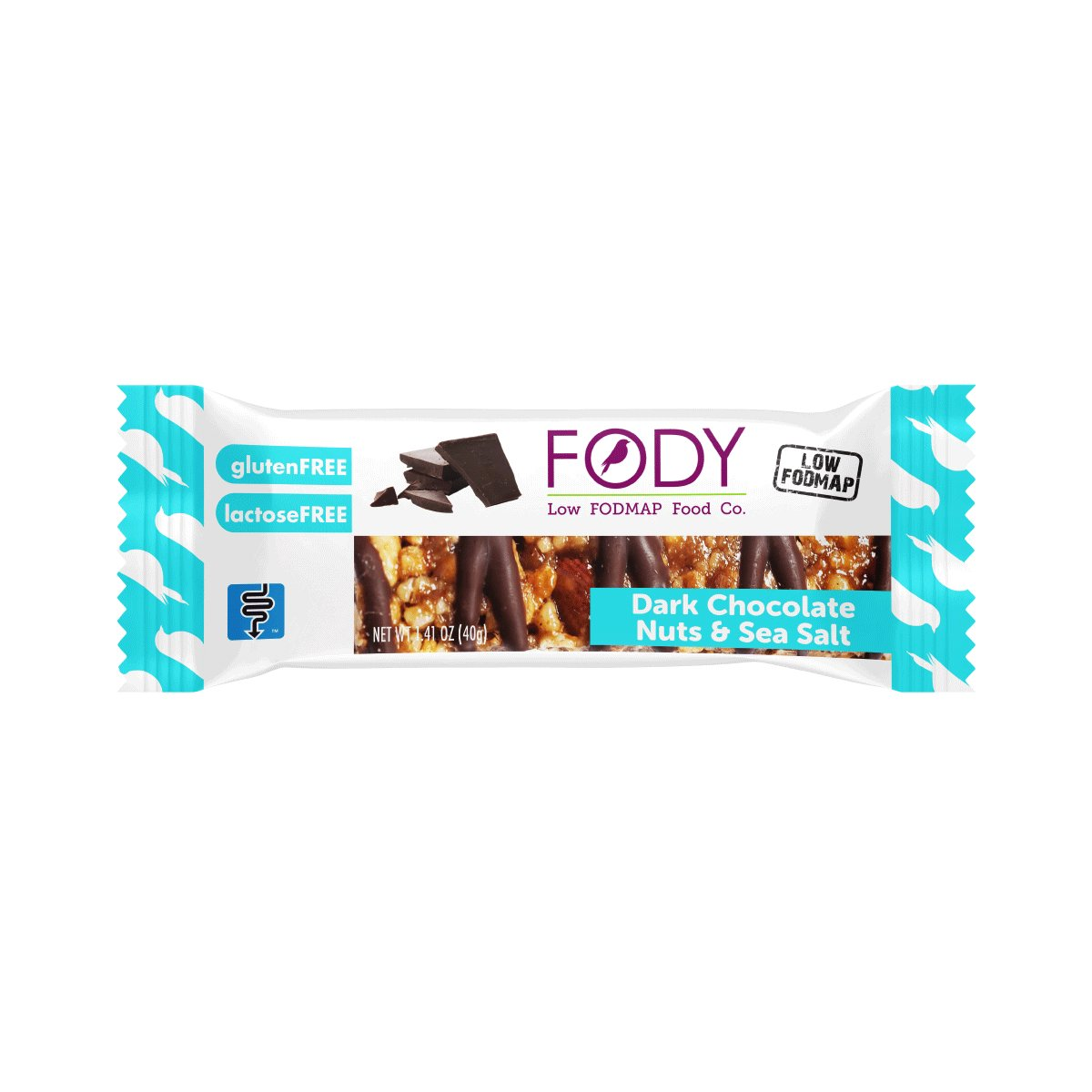 Fody Food Co, Dark Chocolate Nuts & Sea Salt Bars, Low FODMAP and Gut Friendly, Gluten and Lactose Free, 6 Pack of Bars