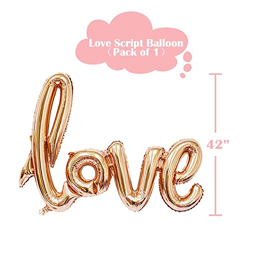 Sharlity Rose Gold Love Balloon Set - Engagement Diamond Ring Balloon Romantic Wedding Bridal Anniversary Party Decoration jXlDq3T5