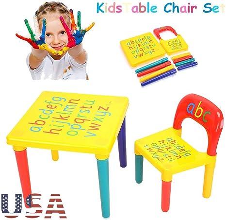 Juego de mesa y silla multifunción para niños, mesa de juegos para niños con 1 silla, de plástico: Amazon.es: Bebé